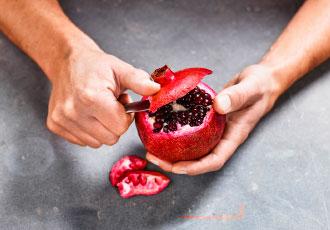 Hur skär man granatäpple