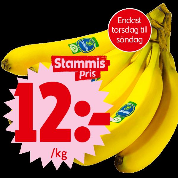 Bananer. 12 kronor per kilo. För dig som är stammis.